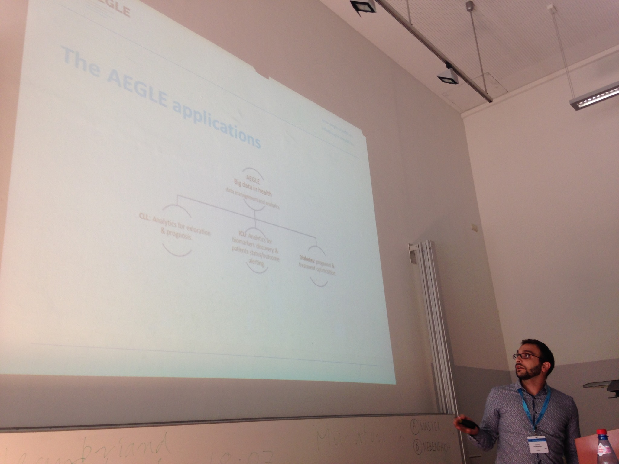 AEGLE Coordinator, Andreas Raptopoulos, during his presentation at HEC 2016 (Munich)